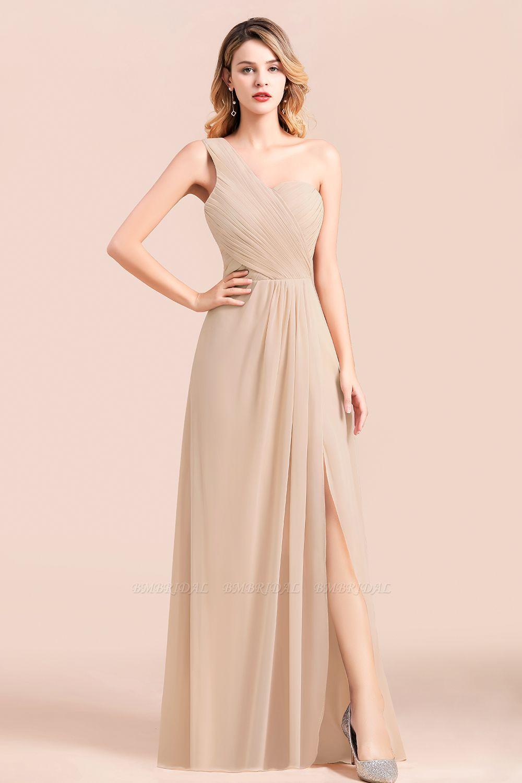 BMbridal Chic One Shoulder Ruffle Champagne Chiffon Bridesmaid Dress