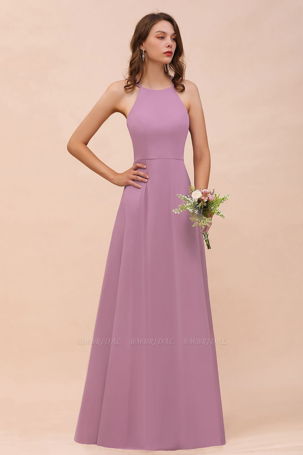 Gorgeous Halter Wisteria Chiffon Bridesmaid Dresses with Draped Back
