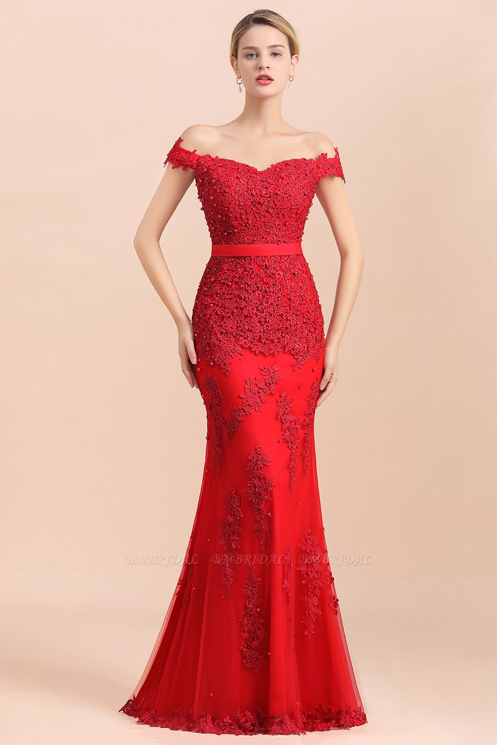 BMbridal Elegant Mermaid Off the Shoulder Red Lace Appliques Bridesmaid dresses