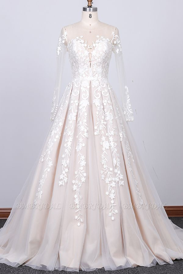 Gorgeous Longsleeves Jewel A-line Wedding Dresses White Appliques Lace Bridal Gowns On Sale