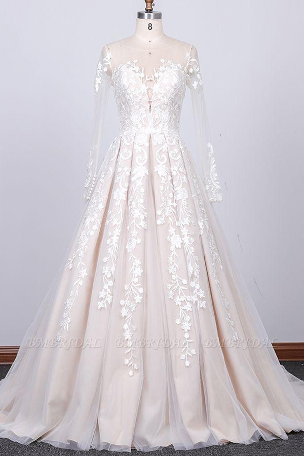 BMbridal Gorgeous Longsleeves Jewel A-line Wedding Dresses White Appliques Lace Bridal Gowns On Sale