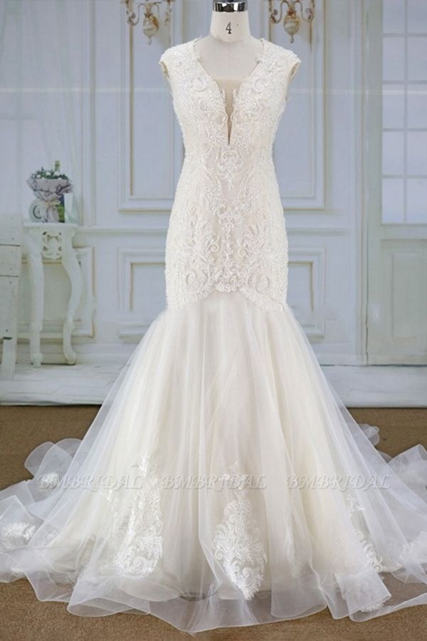 Elegant Mermaid Appliques Straps Wedding Dresses Sleeveless Champagne Tulle Bridal Gowns On Sale