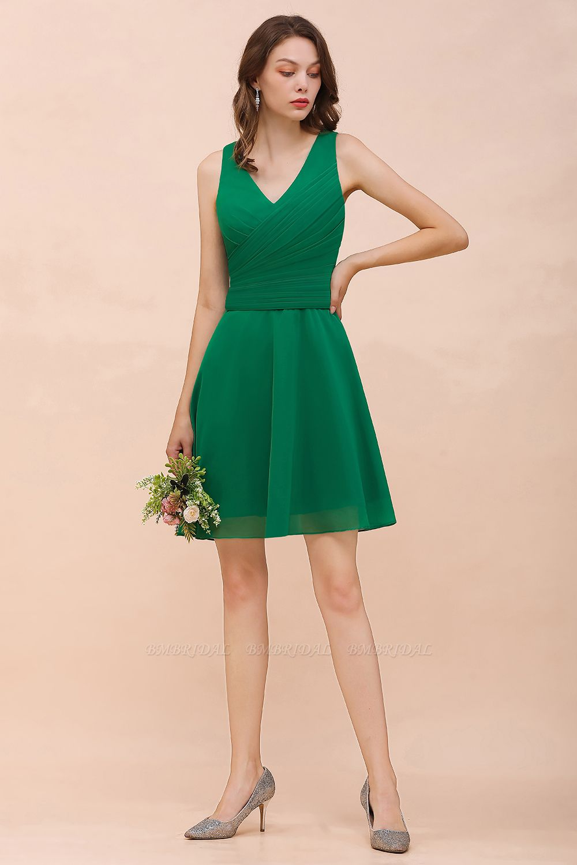 Affordable V-Neck Sleeveless Ruffle Short Bridesmaid Dress