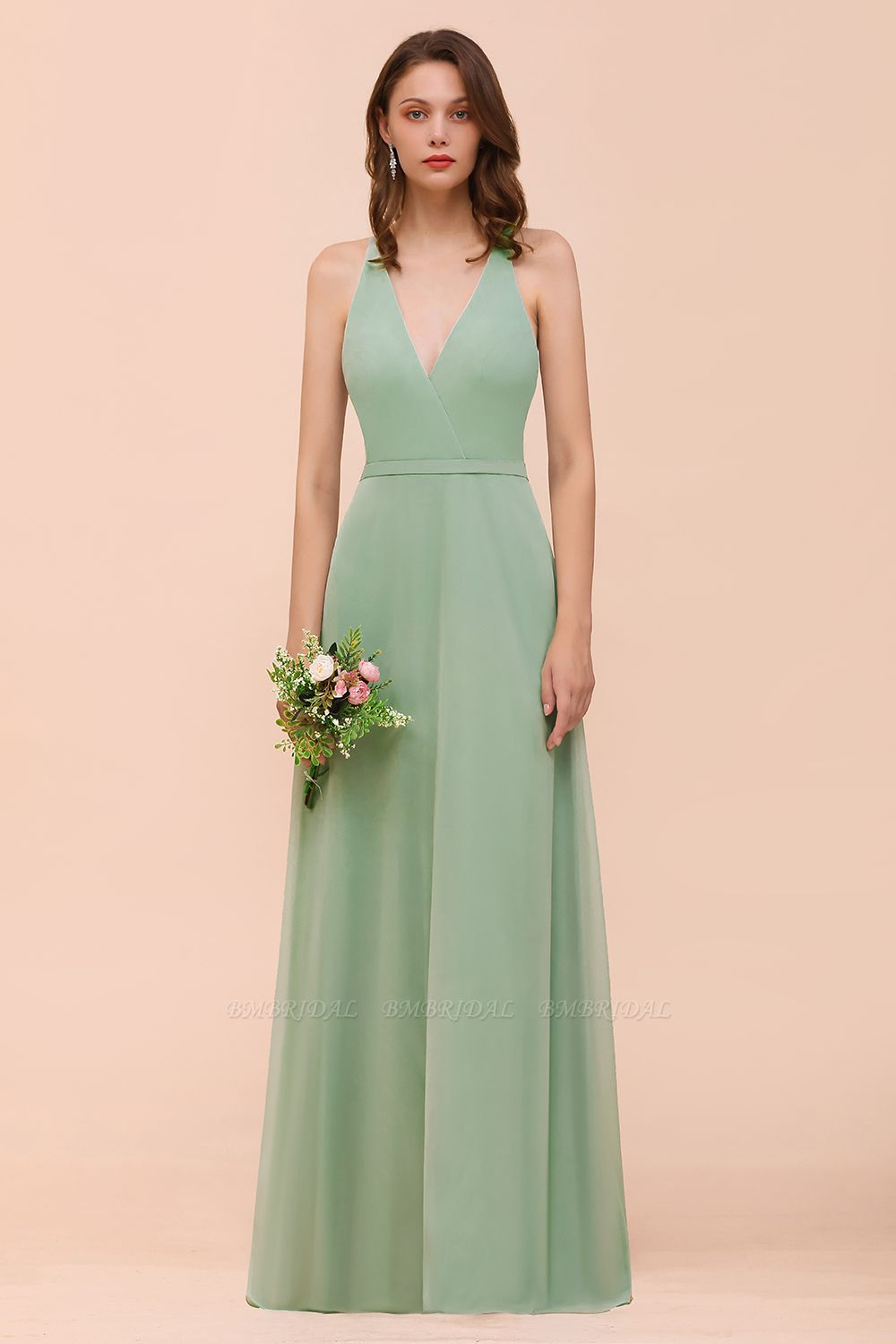 Glamorous Dusty Sage V-Neck Straps Affordable Bridesmaid Dress