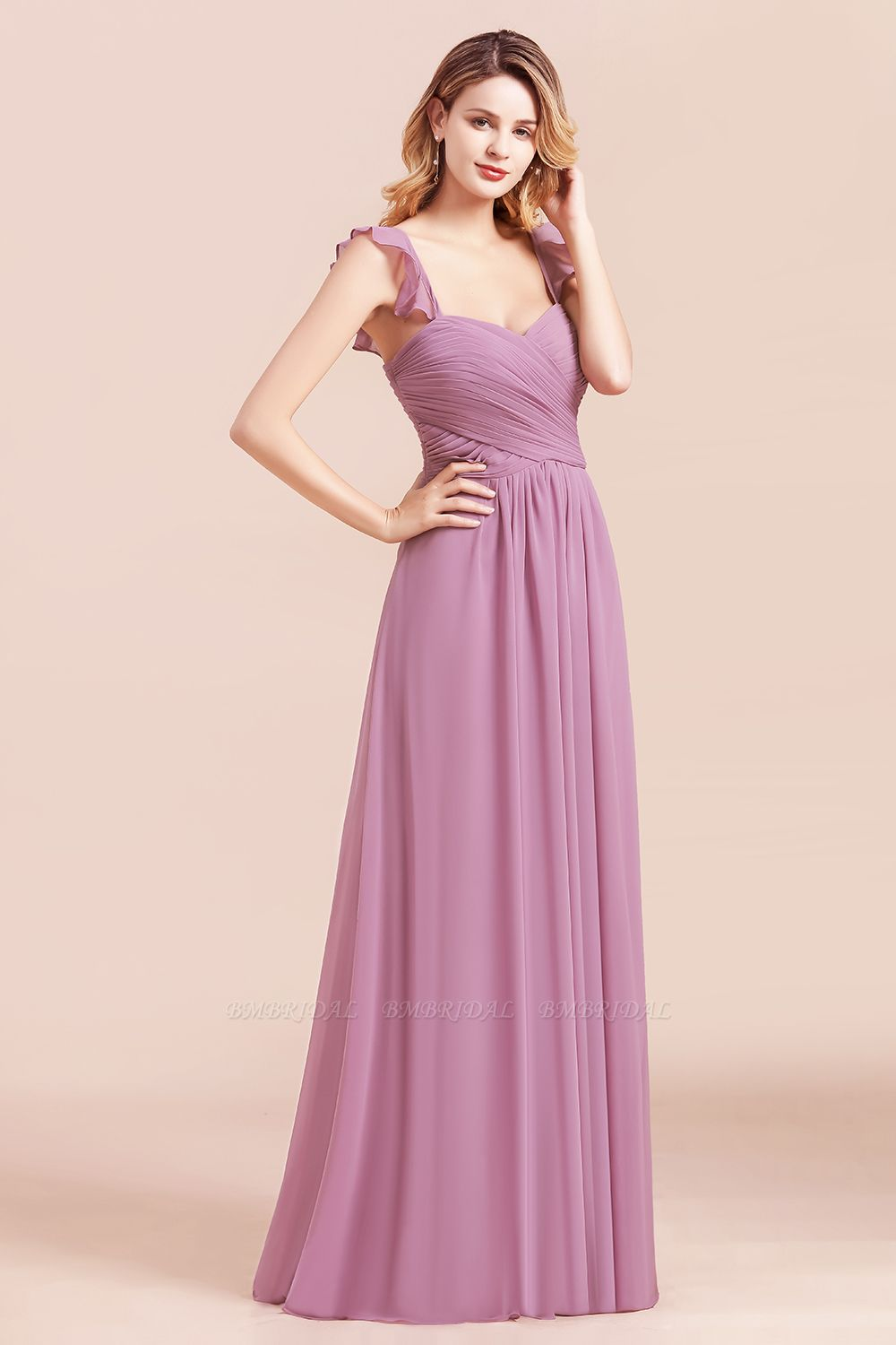 BMbridal Glamorous Sweetheart Ruffle Wisteria Chiffon Bridesmaid Dresses Affordable