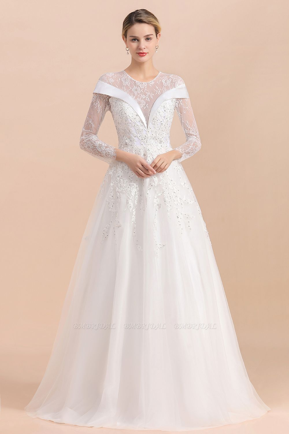 Gorgeous Long Sleeve Lace Wedding Dress Online Appliques Bridal Gowns With Beadings