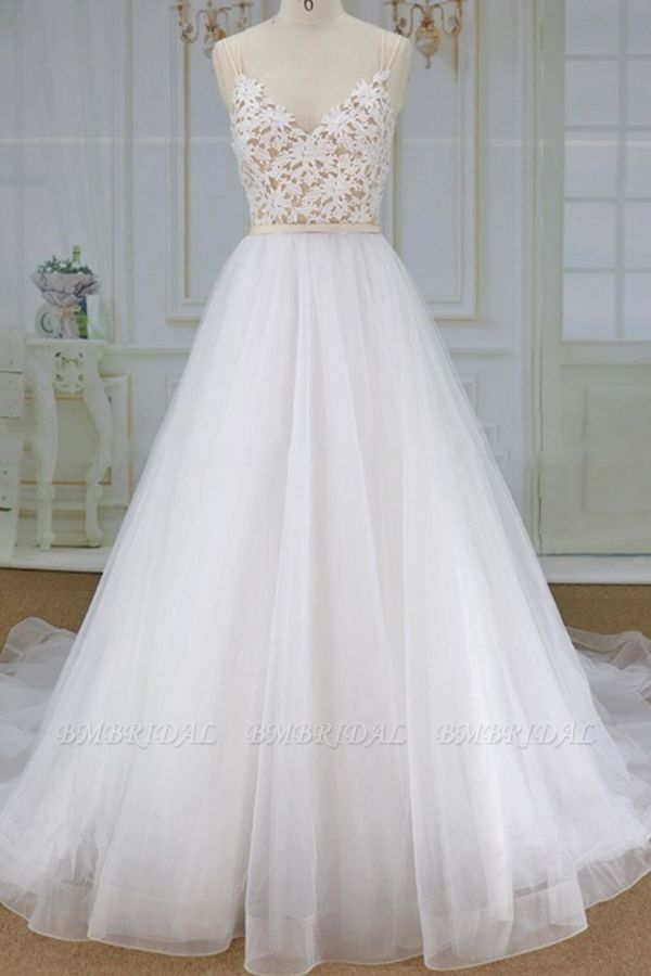Chic Spaghetti Straps V-neck A-line Wedding Dresses White Tulle Bridal Gowns On Sale