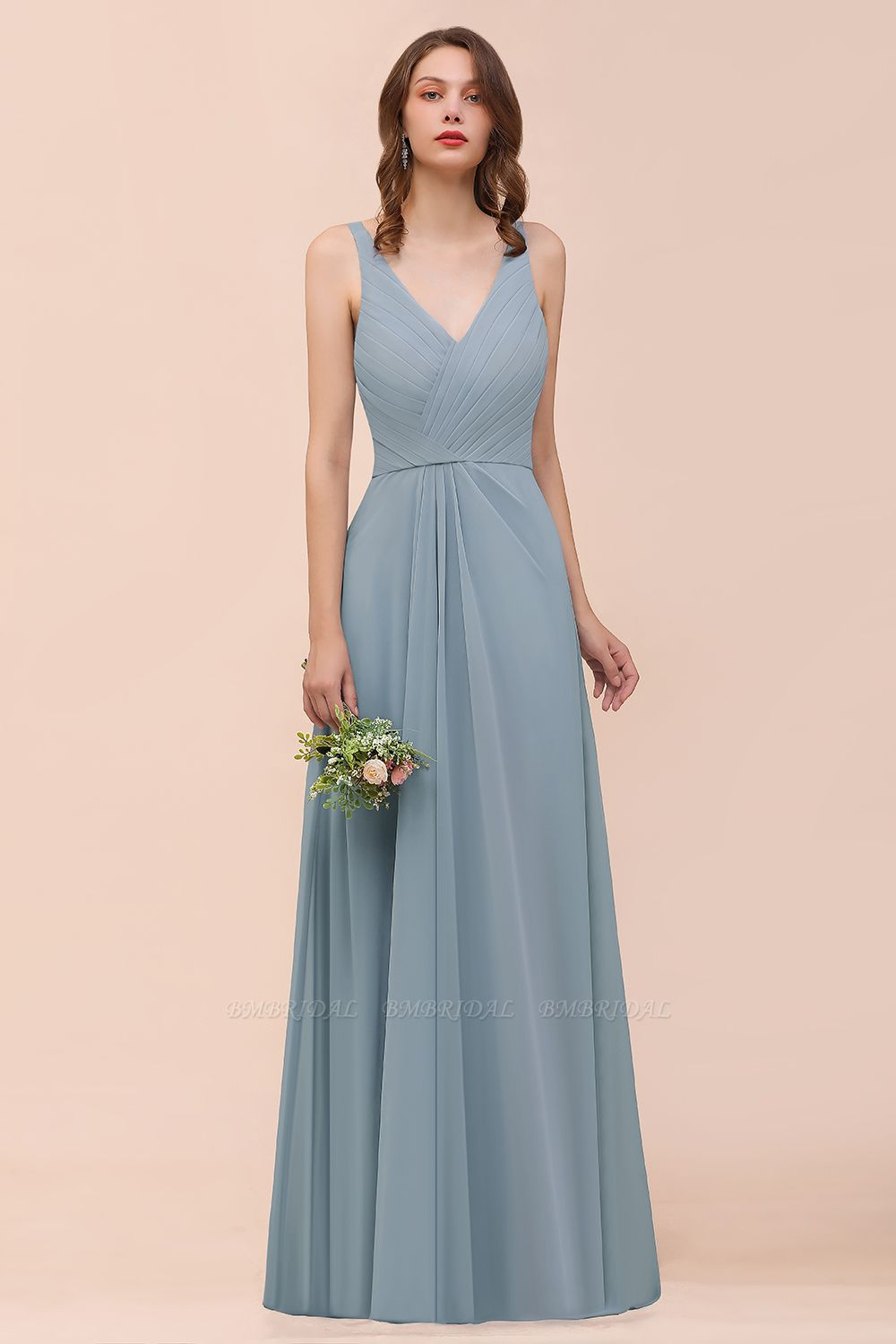 Elegant V-Neck Ruffle Dusty Blue Chiffon Bridesmaid Dresses Online