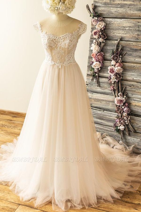 Stylish Off-the-shoulder Jewel Appliques Wedding Dresses A-line Tulle Champagne Bridal Gowns On Sale
