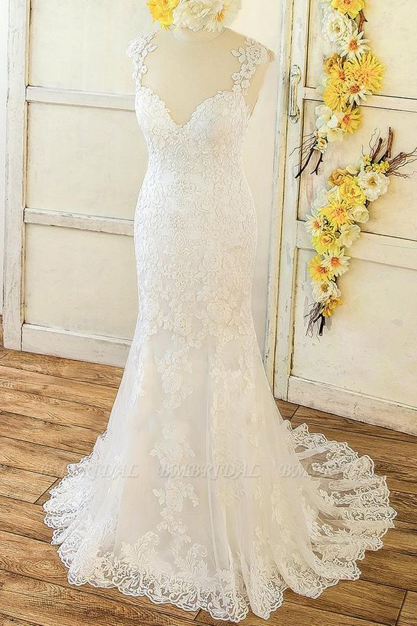 BMbridal Elegant Straps Sleeveless Mermaid Wedding Dresses Appliques Lace White Bridal Gowns On Sale