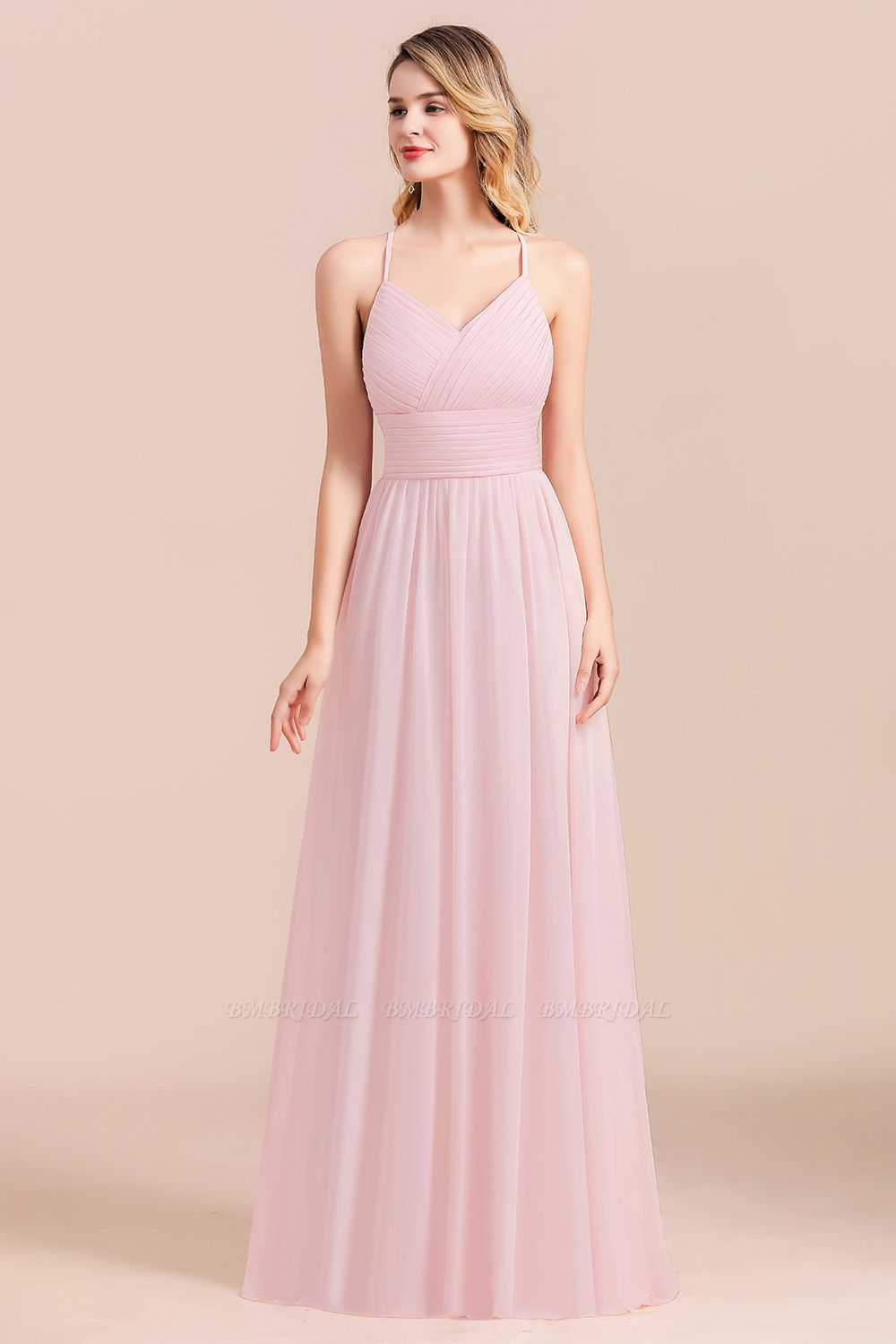 Gorgeous Spaghetti Straps Ruffle Pink Chiffon Bridesmaid Dress Cheap