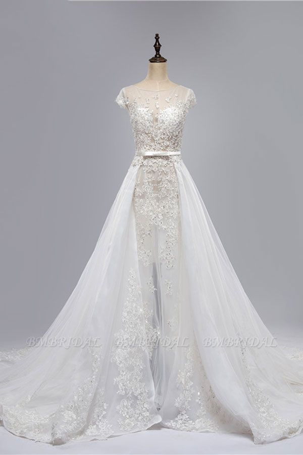 BMbridal Glamorous Shortsleeves Jewel Appliques Wedding Dresses A-line Tulle Lace Bridal Gowns On Sale