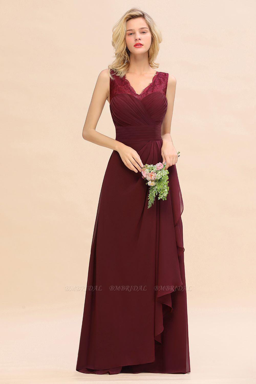 BMbridal Elegant Lace V-Neck Burgundy Chiffon Bridesmaid Dresses with Ruffle