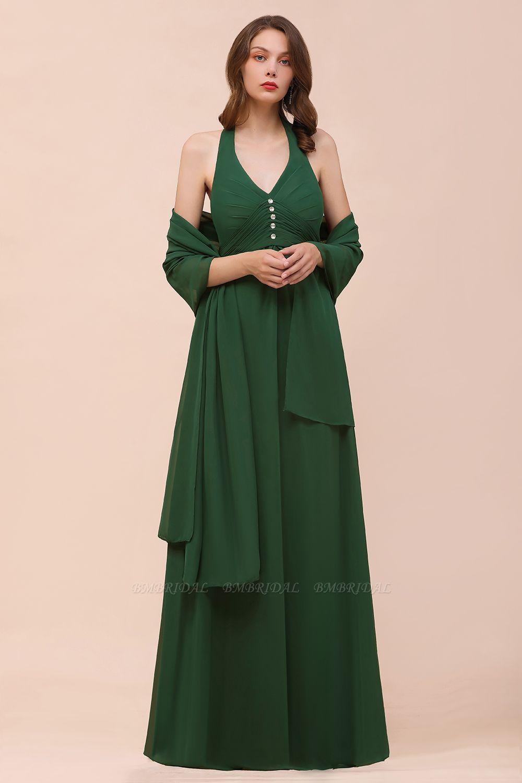 Affordable Halter Beading Ruffle Dark Green Bridesmaid Dress With Shawl