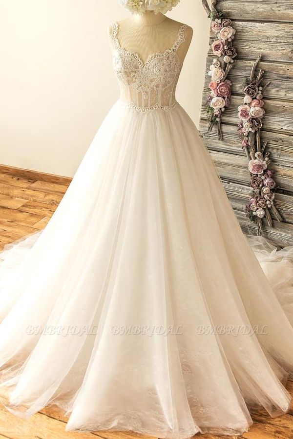 Gorgeous Straps Sleeveless Tulle Wedding Dresses A-line Appliques Lace Bridal Gowns On Sale