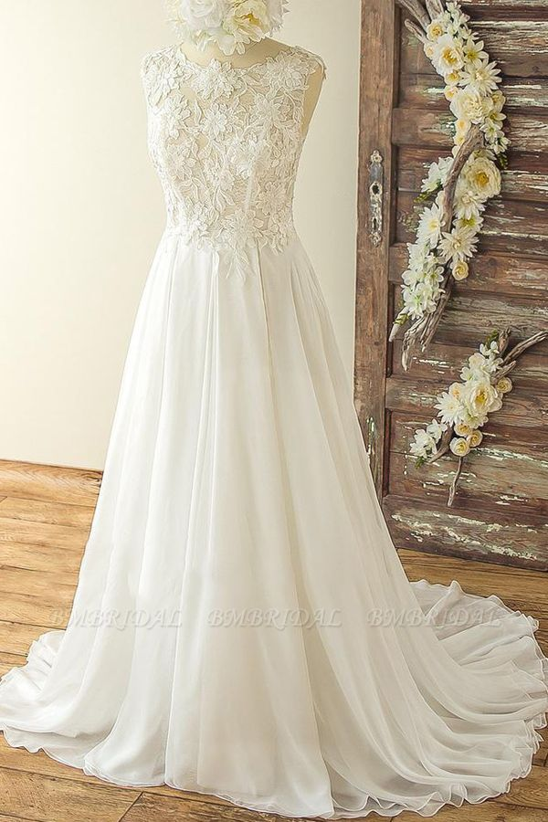 Chic Sleeveless Jewel Appliques Wedding Dresses A-line Chiffon Ruffles Bridal Gowns On Sale