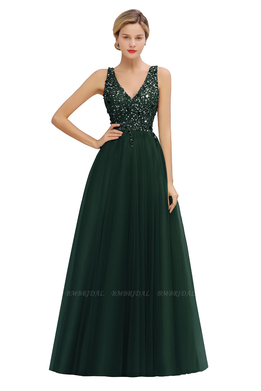 Glamorous V-Neck Sleeveless Prom Dress Long Tulle Evening Gowns With Crystals