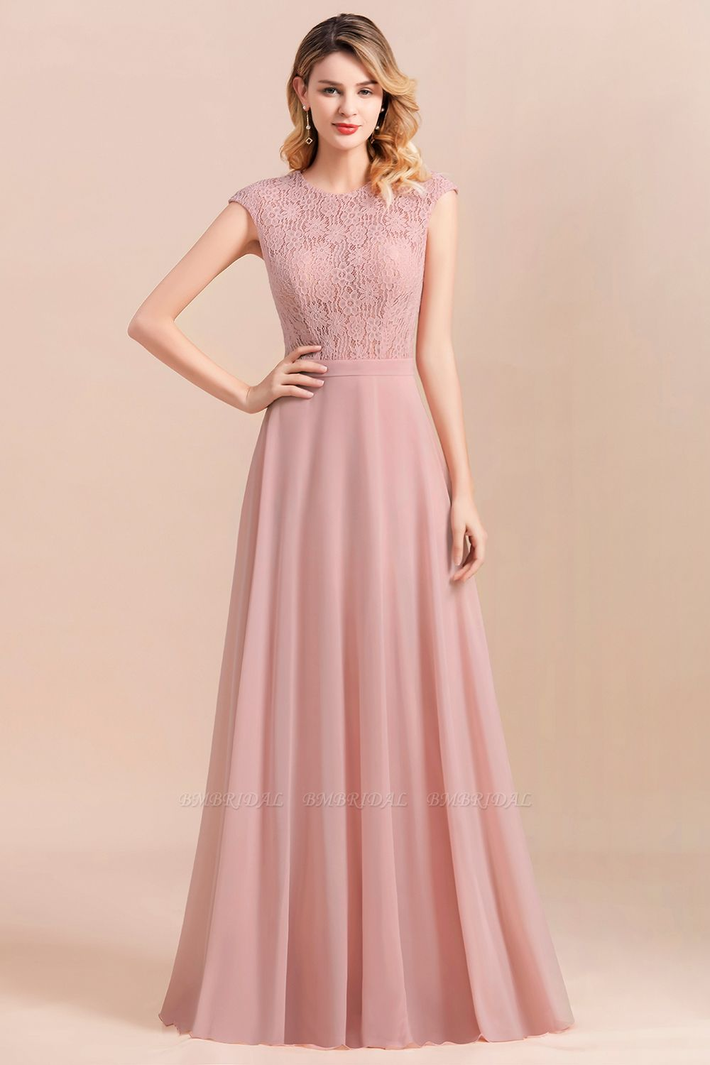 Elegant A-Line Sleeveless Dusty Rose Lace Bridesmaid Dress Online