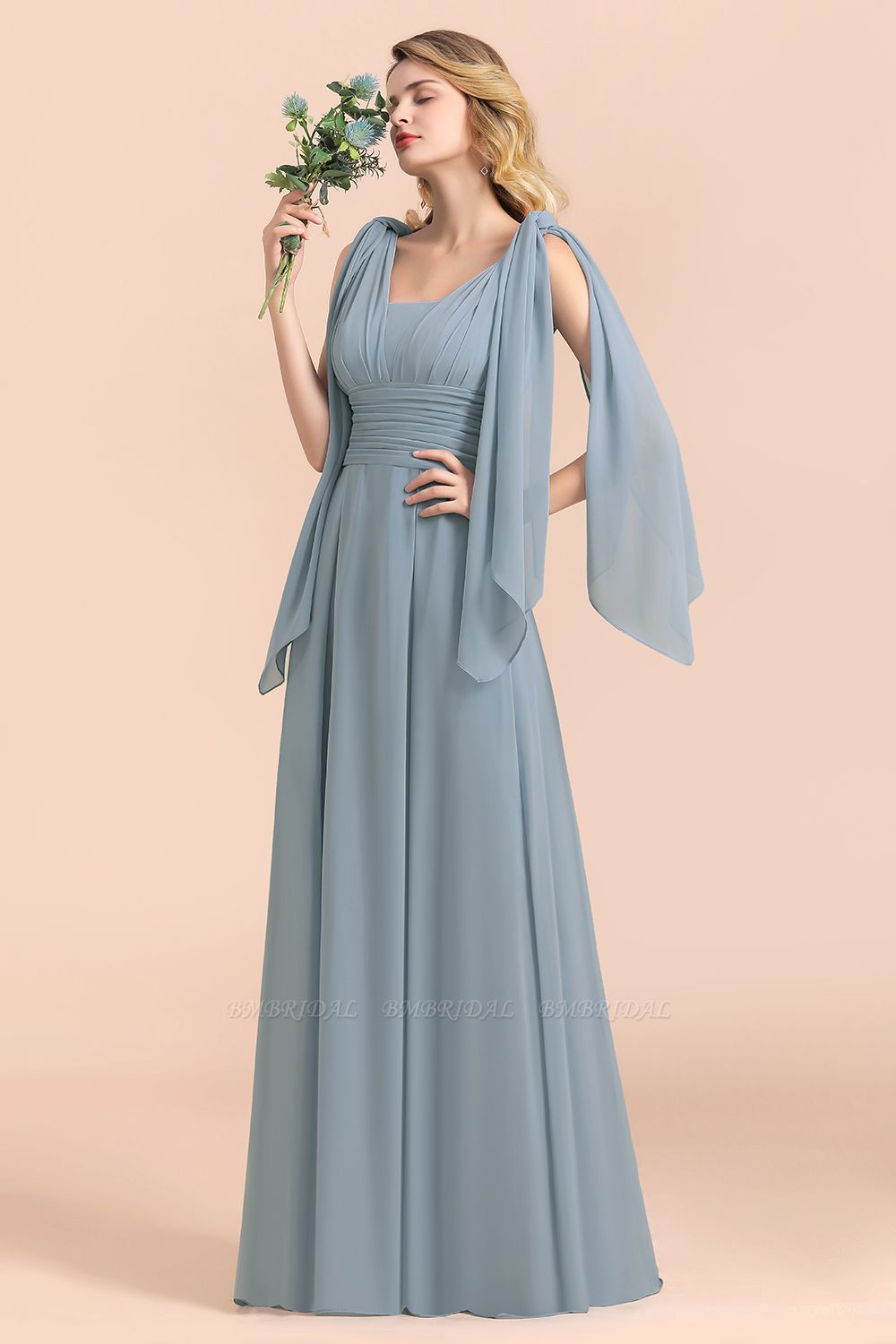 Affordable Dusty Blue Ruffle Convertible Bridemsiad Dress
