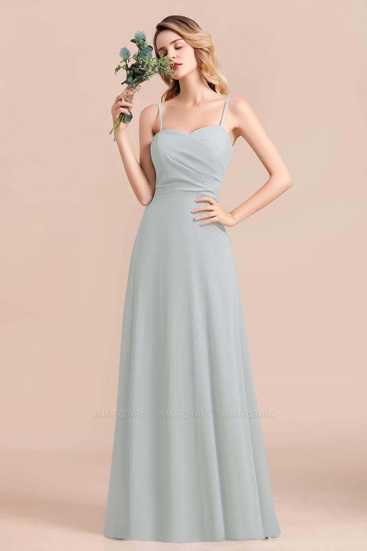Mist Spaghetti-Straples Long Chiffon Bridesmaid Dresses Online