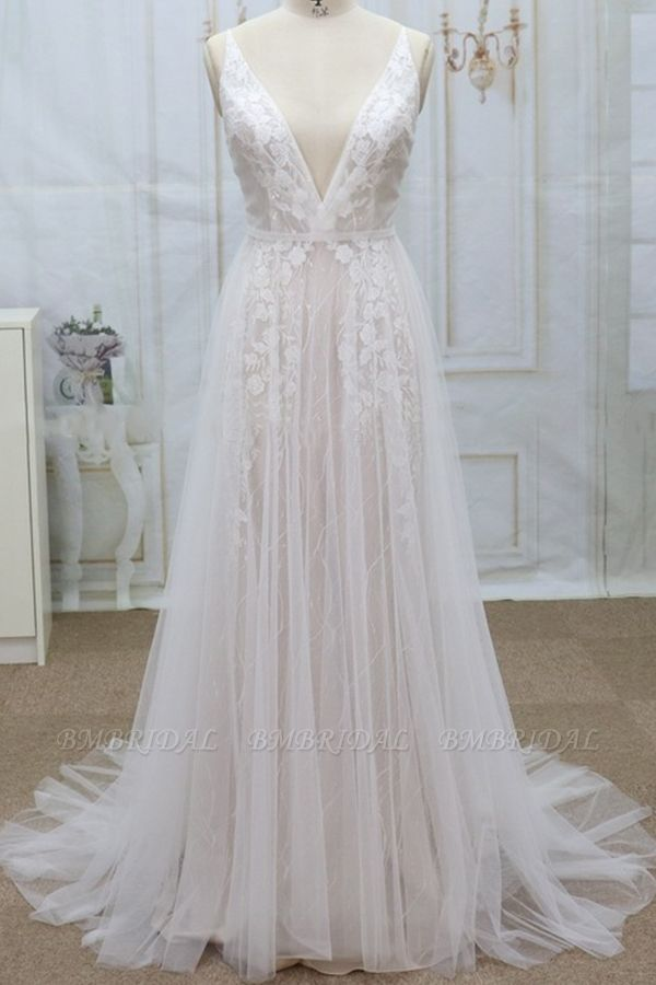 Sexy V-neck Straps Sleeveless Wedding Dresses Lace Appliques Tulle Bridal Gowns On Sale