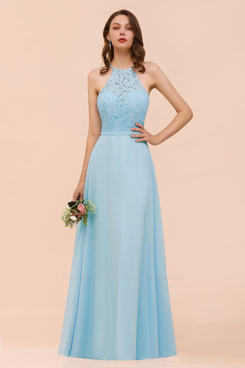 Chic Halter Sleeveless Affordable Sky Blue Bridesmaid Dress with Lace