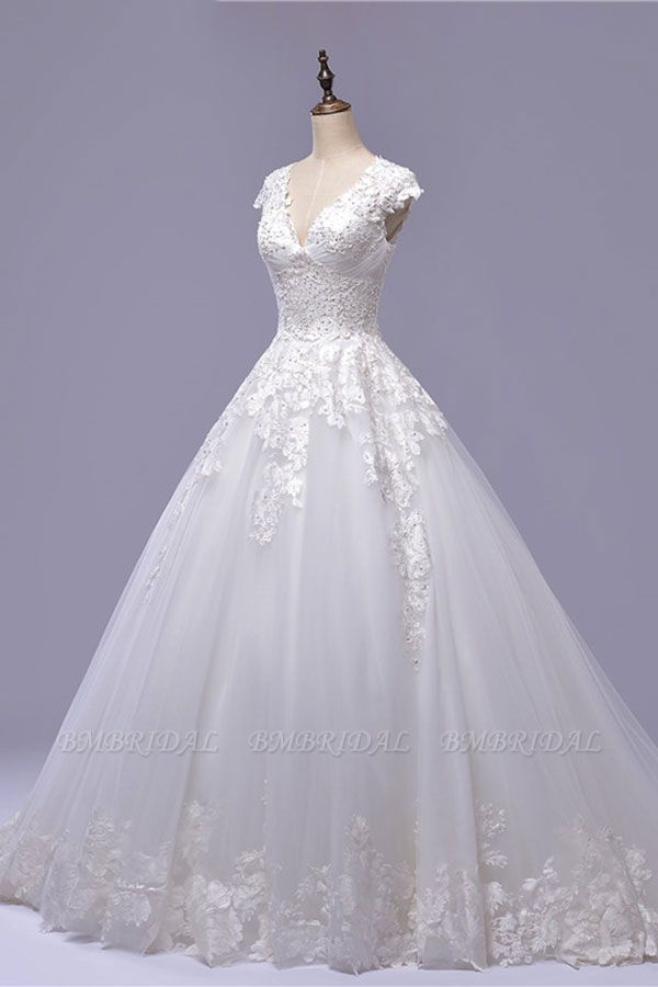 BMbridal Gorgeous V-neck A-line Tulle Wedding Dresses Appliques White Shortsleeves Bridal Gowns On Sale