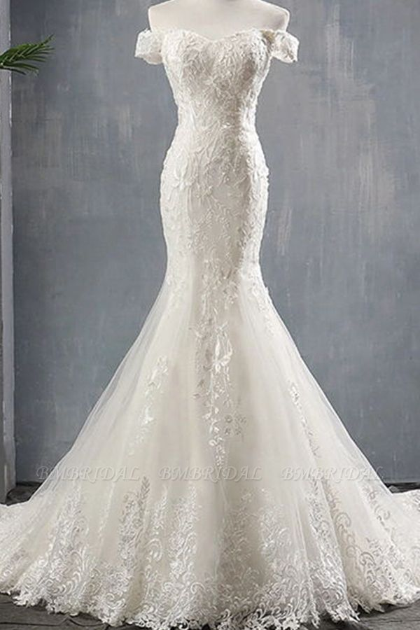 BMbridal Glamorous Off-the-shoulder Mermaid Appliques Wedding Dresses Lace Tulle White Bridal Gowns On Sale