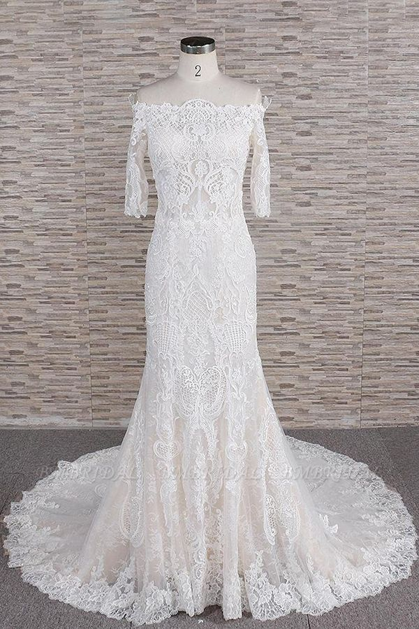 Unique Halfsleeves Lace Mermaid Wedding Dresses Champagne Bateau Bridal Gowns On Sale