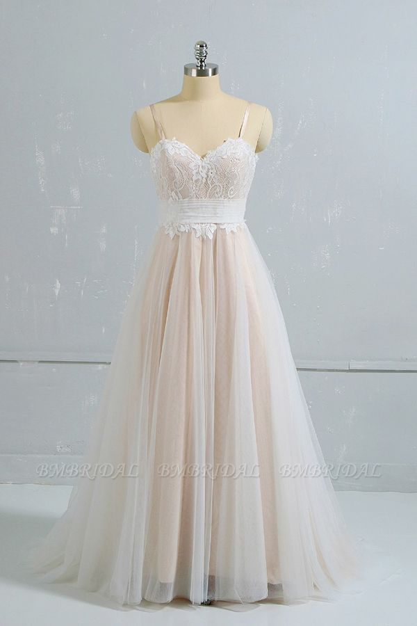 Stylish Spaghetti Straps Sleeveless Lace Wedding Dresses Champgne A-line Ruffles Bridal Gowns On Sale