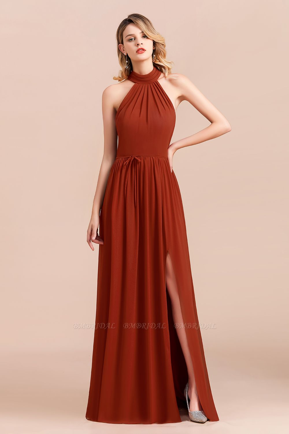 Rust Halter Long Bridesmaid Dresses Online With Front Split