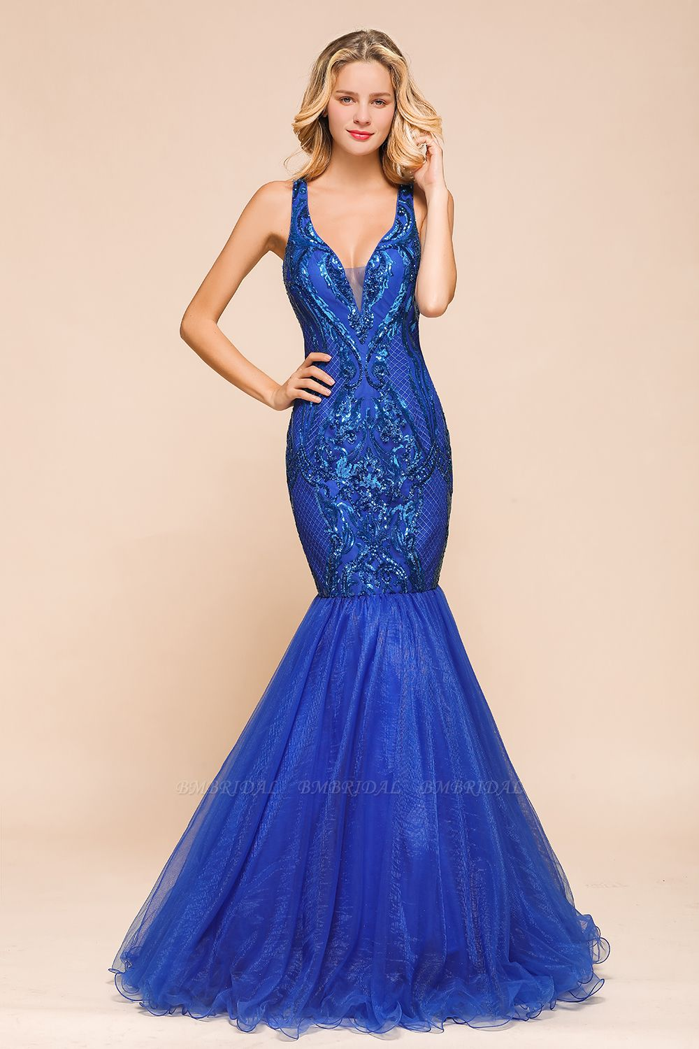 Gorgeous Royal Blue Mermaid Prom Dress Long Sequins Evening Party Gowns Online