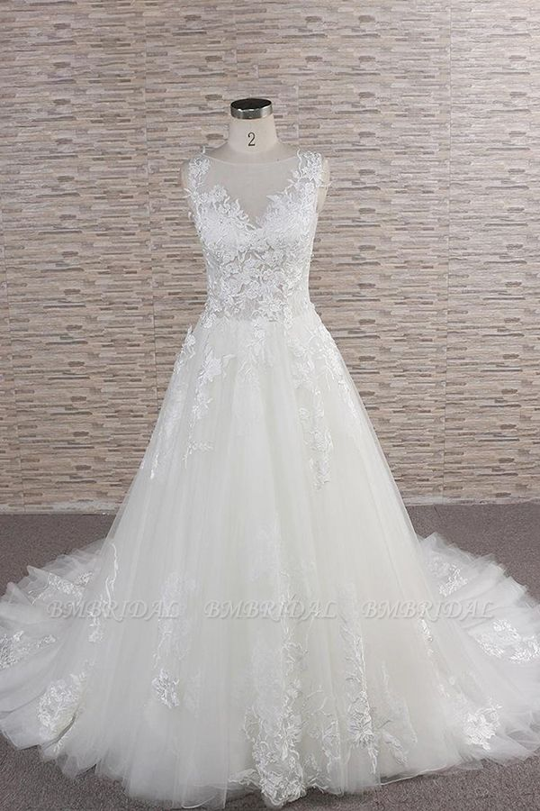 BMbridal Gorgeous Sleeveless Jewel Tulle Wedding Dresses A-line Ruufles Lace Bridal Gowns With Appliques