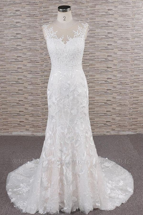 BMbridal Gorgeous Sleeveless Straps Lace Wedding Dresses Jewel Straps Mermaid Bridal Gowns With Appliques On Sale