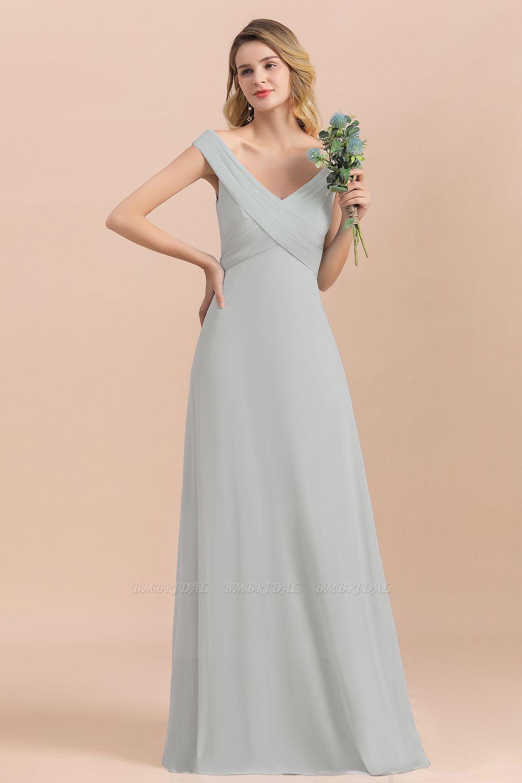 Modest Off-the-Shoulder Mist Chiffon Bridesmaid Dresses with Pleats