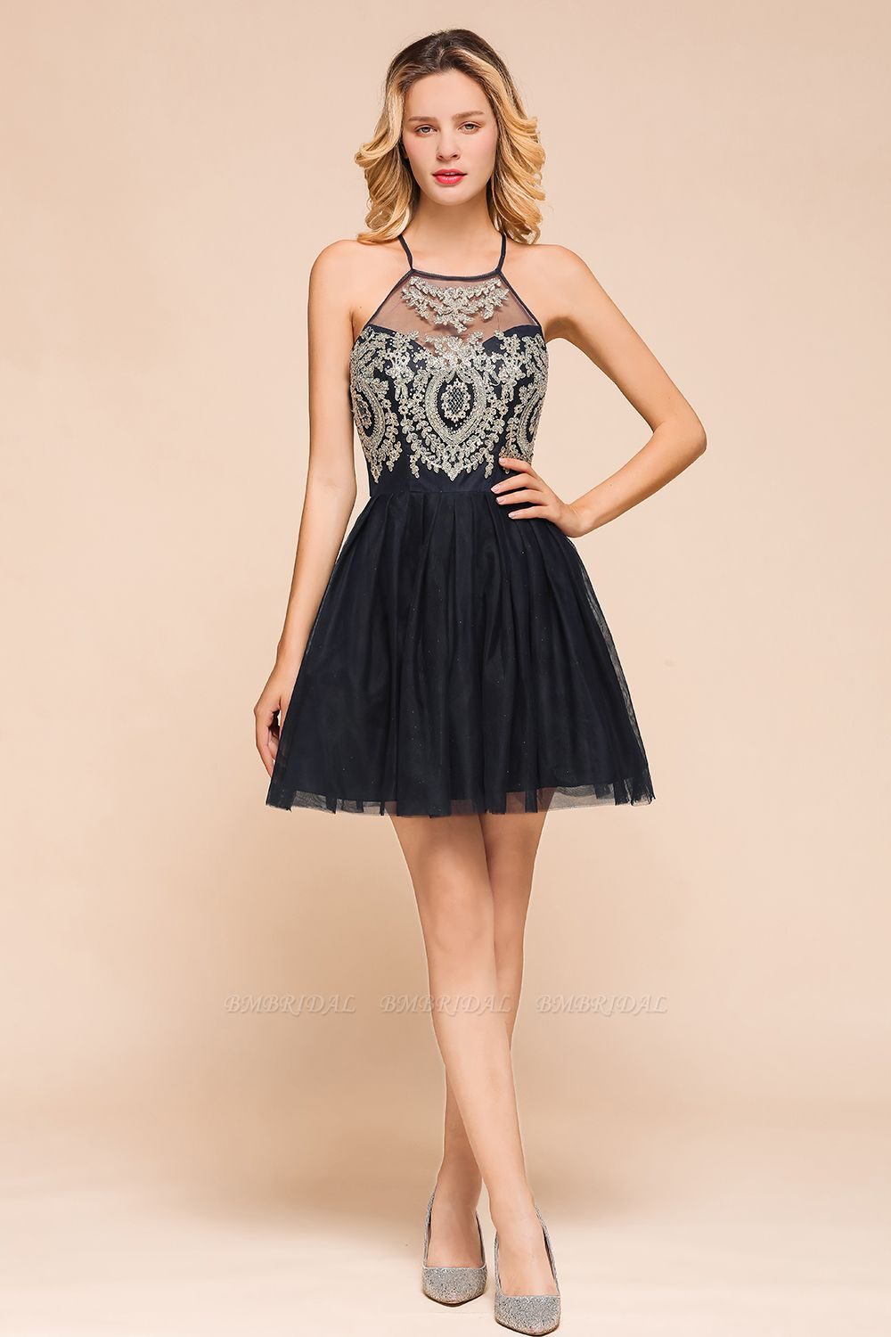 BMbridal Lovely Halter Tulle Short Prom Dress Lace Appliques Homecoming Dress Online