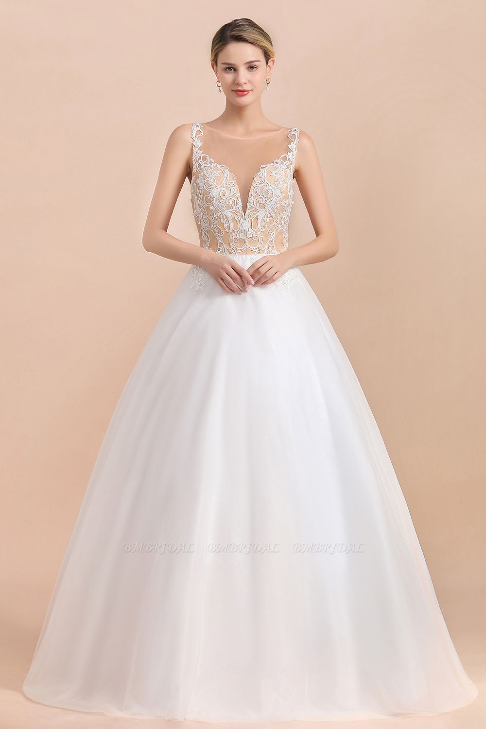 Gorgeous Tulle Lace V-Neck Sleeveless Wedding Dress Online