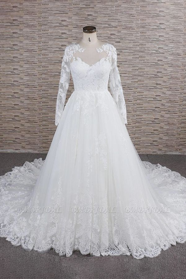 Modest Jewel Longsleeves A-line Wedding Dresses White Tulle Lace Bridal Gowns With Appliques On Sale