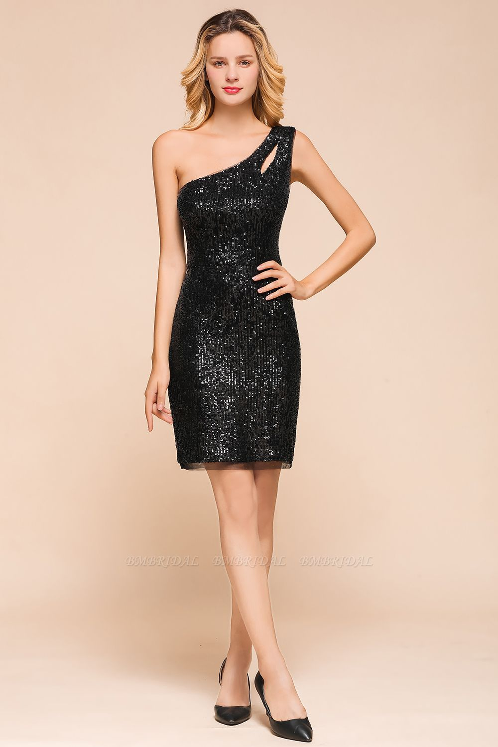 BMbridal Sexy Black Sequins Short Prom Dress One Shoulder Homecoming Dress