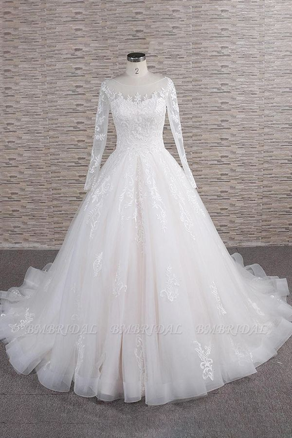 BMbridal Chic Longsleeves Jewel Tulle Wedding Dresses A-line Bridal Gowns With Appliques Online