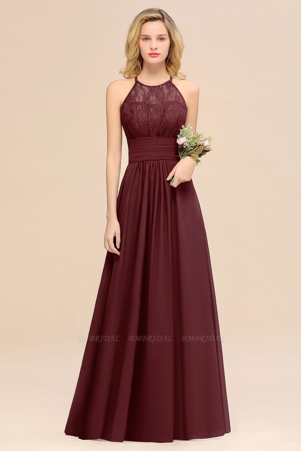 BMbridal Elegant Halter Ruffles Sleeveless Grape Lace Bridesmaid Dresses Affordable