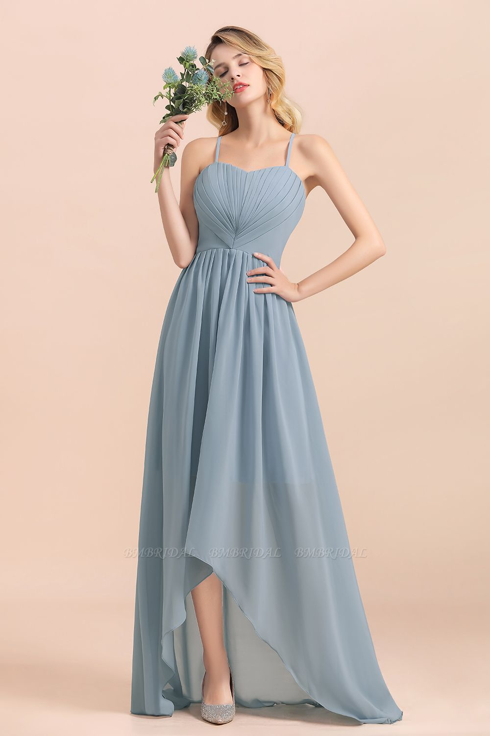 Gorgeous Hi-Lo Heart-Shaped Ruffle Bridesmaid Dress with Spaghetti Straps