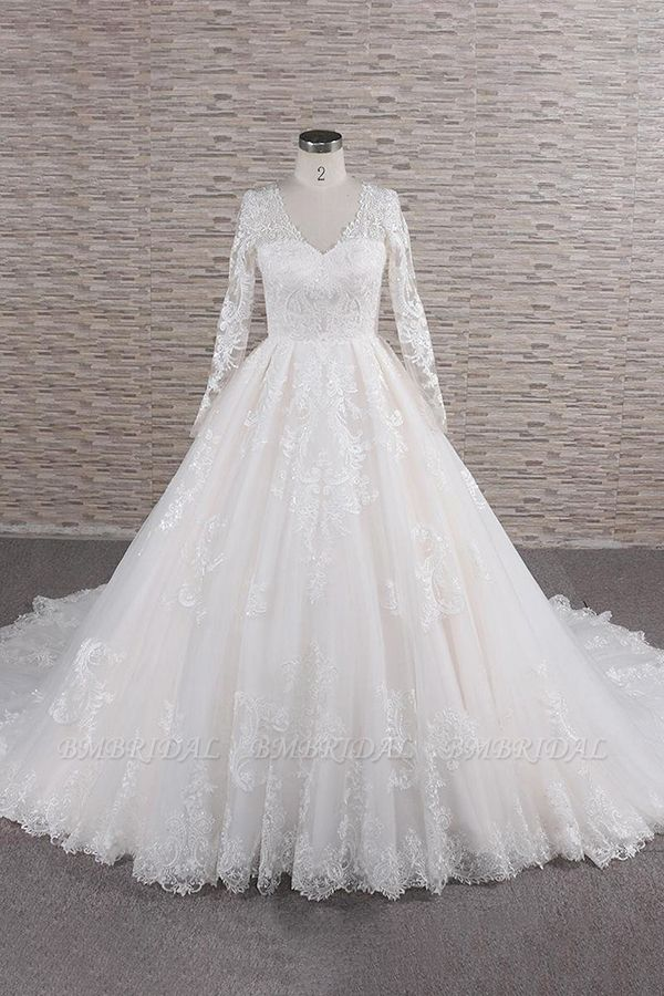 Elegant V-neck Longsleeves Lace Wedding Dresses A-line Tulle Bridal Gowns With Appliques Online