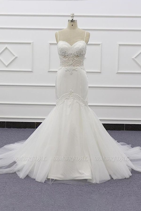 BMbridal Sexy Spaghetti Straps White Mermaid Wedding Dresses Tulle Sleeveless Bridal Gowns With Appliques On Sale