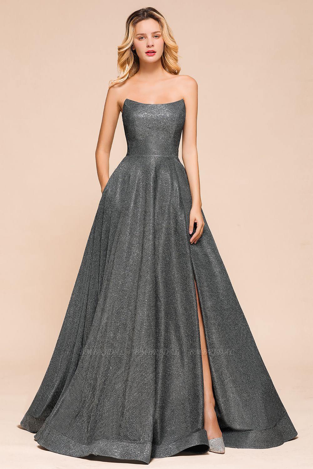 BMbridal Shinning Strapless Long Prom Dress Lace-up Evening Gowns With Split