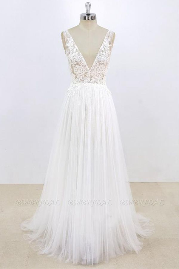 BMbridal Sexy V-neck Sleeveless Straps Wedding Dresses White Tulle Ruffles Lace Bridal Gowns Online