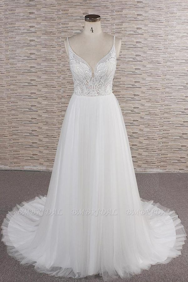 Glamorous V-neck Spaghetti Straps White Wedding Dresses A-line Sleeveless Tulle Lace Bridal Gowns Online