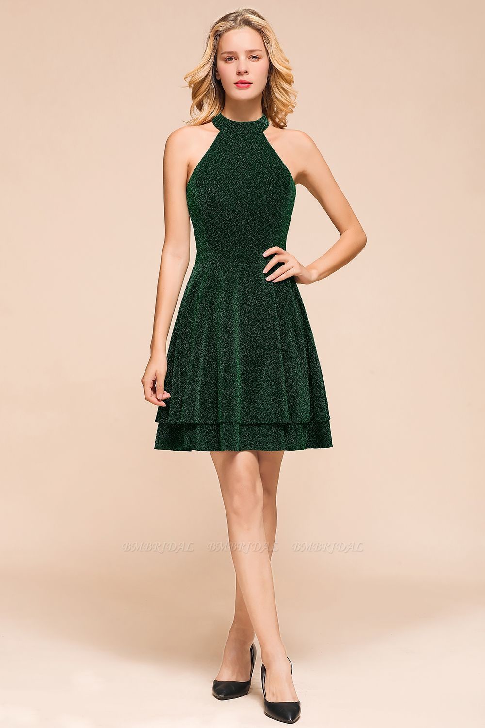 Green Shinning Halter Short Prom Dress Mini Party Gowns
