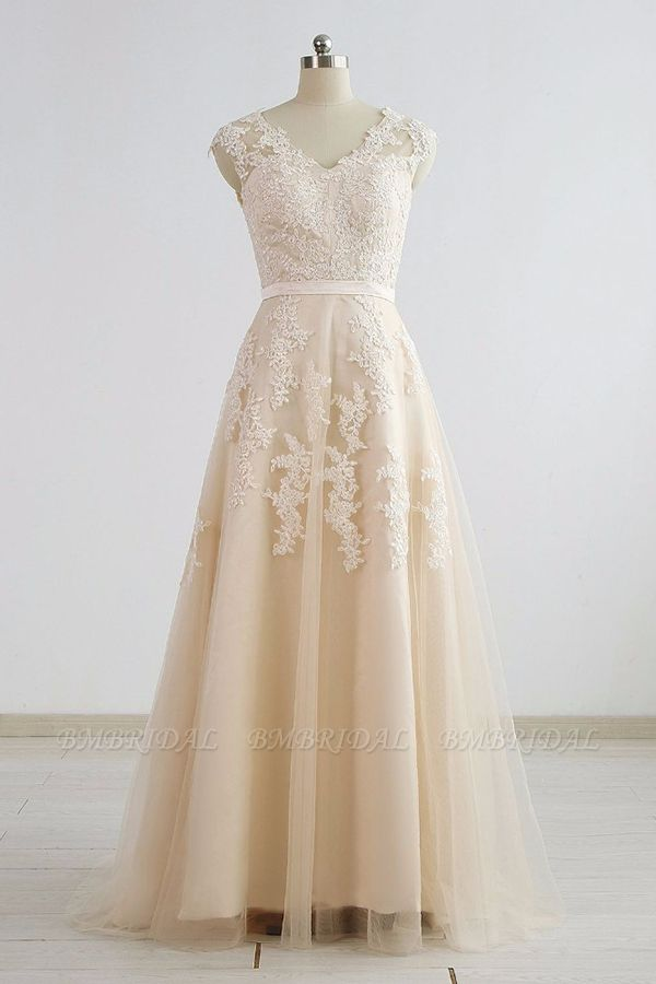 BMbridal Stylish Straps Sleeveless Champagne Wedding Dresses A-line Lace Bridal Gowns Online