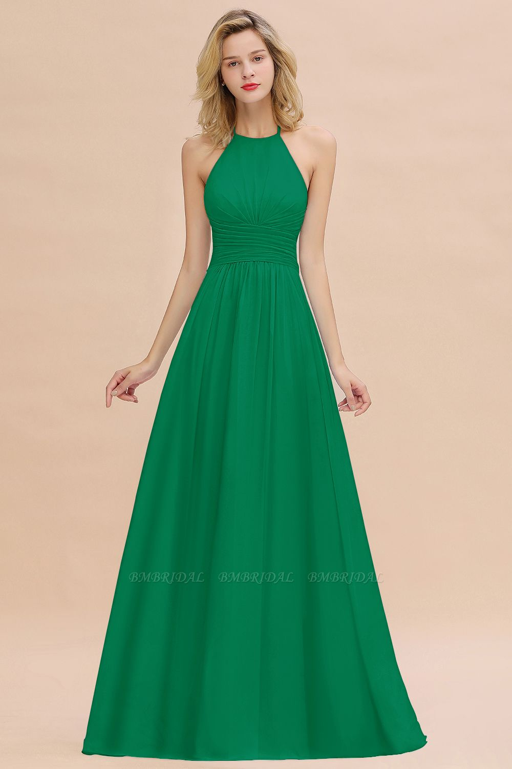 Glamorous Halter Backless Long Affordable Bridesmaid Dresses with Ruffle